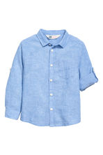 Linen-blend shirt - Blue marl - Kids | H&M CN 3